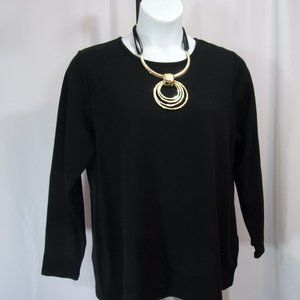 Black Knit Top Thermal Perfect for Spring Plus